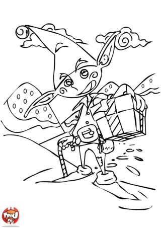 Coloriage: Lutin du père Noël