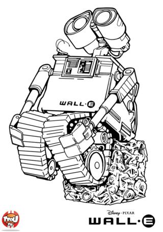 Coloriage: WALL.E fait une figure