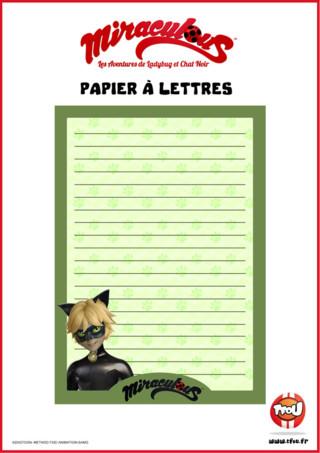 Tfou te propose ce beau papier à lettres Miraculous ! Imprime gratuitement le papier à lettres avec ton super-héros Chat Noir ! Tu pourras t'en servir pour écrire des petits mots à tes amis ou à ta famille ! En plus il est vert ! Trop cool !