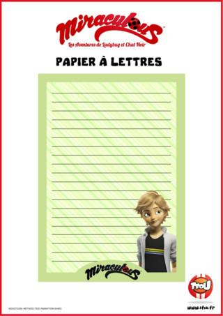 Tfou.fr te propose ce beau papier à lettres aux couleurs de ta série Miraculous ! Imprime gratuitement ce papier à lettres vert avec Adrien dessus! Tu pourras t'en servir pour écrire à tes amis ou à ta famille !