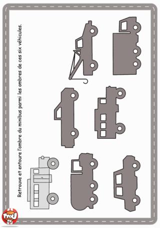 Activité : Jeu des ombres voiture. Imprime vite ton activité jeu des ombres pour compléter ton cahier d'activités voiture et retrouve l'ombre de la voiture sur le dessin.