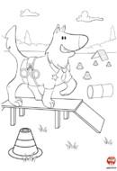 Coloriage le chien équilibriste
