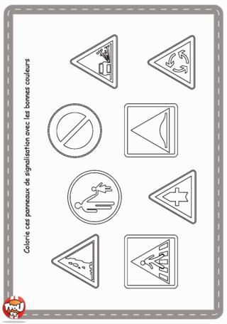 Activité : Jeu des panneaux de signalisation. Colorie ce panneaux de signalisation avec les bonnes couleurs.