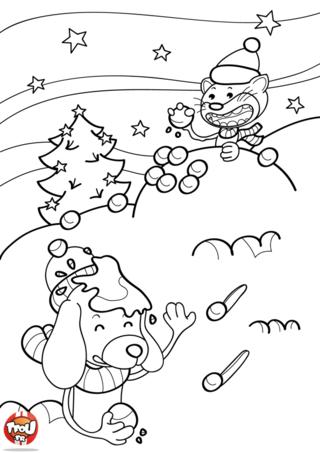 Coloriage: La neige à Noël