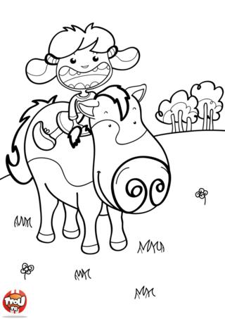 Coloriage: Un cheval et une petite fille