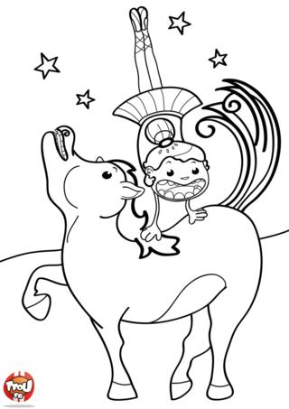 Coloriage: Cheval de cirque
