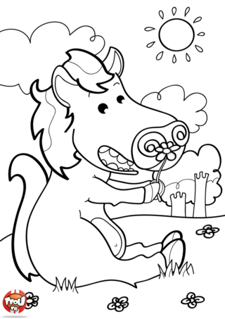 Coloriage: Cheval assis