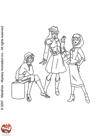 Coloriage: Les Totally Spies au shopping