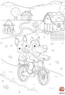 Coloriage- Loup fait du vélo