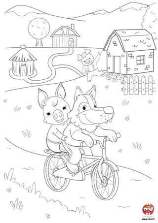 """Connais-tu l'histoire des """" 3 petits cochons """" ? Chez TFou.fr, le loup est un animal très sociable et aime ce faire de nouveaux amis. Du coup quand il voit les """" 3 petits cochons """", il en profite pour faire du vélo avec eux. Regarde-le faire du vélo avec son amie pendant que l'autre cochon lui fait signe. Va sur Tfou.fr et imprime vite ce joli coloriage gratuit pour enfant. Si tu aimes les coloriages de loup, tu peux en retrouver plein d'autres sur Tfou.fr."""