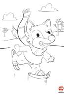 Coloriage-Loup fait du patin