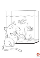 Coloriage-Chat devant l'aquarium