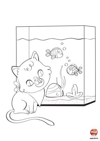 Que fait ce chat devant un aquarium ? Il rêve de manger les poissons qui y nagent tranquillement. Regarde ce petit chat qui se lèche les babines et a déjà mit sa serviette autour de son cou ! Ses yeux sont grand ouverts et sont plus gros que son ventre ! Car le petit chat ne pourra pas dîner avec ces poissons, ils sont protégés par l'aquarium. Imprime ce coloriage gratuit pour enfant sur tfou.fr et amuse-toi avec le chat et les poissons !
