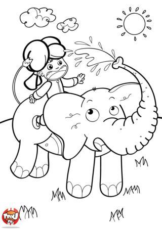 Coloriage: L'éléphant arroseur