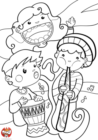 Coloriage: Petits musiciens