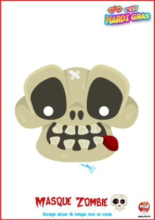 Tu veux soutenir ta tribu pour Mardi Gras? Alors ce masque de la tribu Zombie offert par TFou est fait pour toi ! Imprime-le vite, colorie-le comme tu le souhaites et porte-le pour le Carnaval.