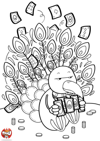 Coloriage: Paon joue aux cartes