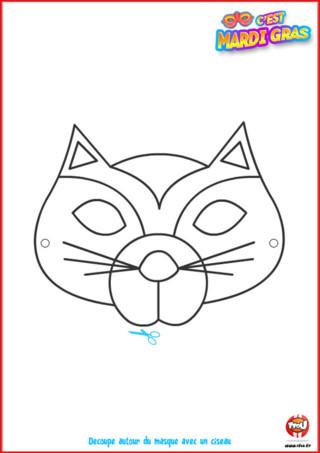 Tu rêve de te déguiser en chat pour Mardi Gras cette année! TFou t'en offre un ! Imprime-le gratuitement et colorie-le ! Ton déguisement de chat sera super grâce à ce masque de Carnaval.