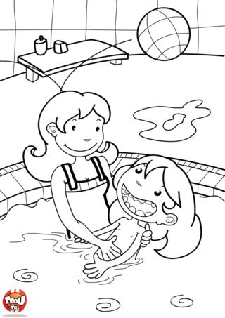 Coloriage: Jeux dans la piscine