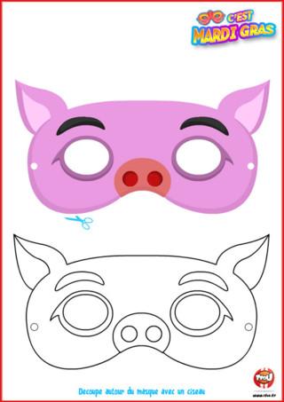 Tu te déguises en cochon cette année pour Mardi Gras? Alors ce masque offert par TFou est fait pour toi ! Imprime-le vite, colorie-le comme tu le souhaites et porte-le pour le Carnaval.