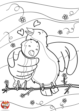 Coloriage: oiseaux sur une branche