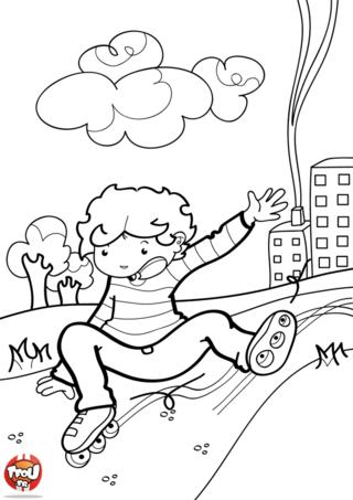 Coloriage: Enfant par terre