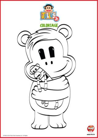 Trop mignon ! Voici un coloriage de Tit'Ours l'un des héros du dessin animé Julius Jr sur TFou.fr. Tit'Ours, c'est le meilleur ami de Julius. Avec les autres membres de la bande, il joue de la musique et vit plein d'aventures dans la cabane à clips. Tit'Ours est d'humeur à faire des câlins et veut que tu l'imprimes, lui sa peluche bien almée pour l'afficher dans ta chambre. Avant ça, tu devras leur donner des couleurs en faisant ce coloriage gratuit pour enfant proposé par TFou !