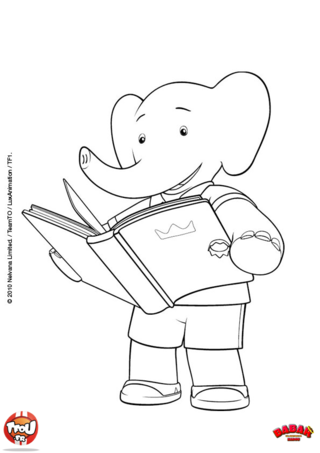 Coloriage: Badou aime lire
