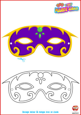 Es-tu prêt à participer au Carnaval cette année? As-tu réalisé ton costume ? Tu trouveras des idées en imprimant ce coloriage pour le Carnaval sur TFou.fr avec ce super masque !