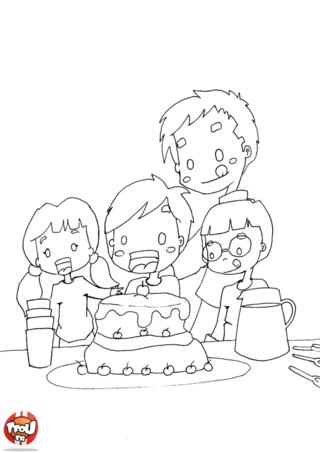 Coloriage: Gâteau d'anniversaire