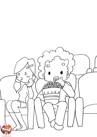 Coloriage: Pop corn au cinéma