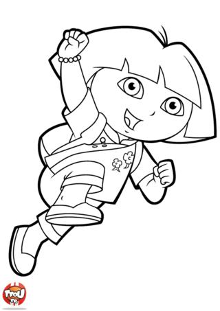 Coloriage: Dora en costume chinois