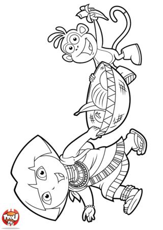 Coloriage: Dora et Babouche portent des fruits