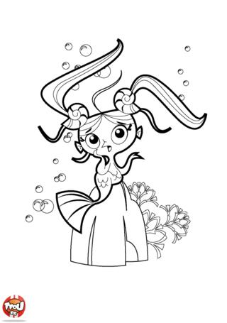 Coloriage: Sirène avec des couettes