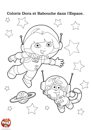 Coloriage: dora et Babouche dans l'espace
