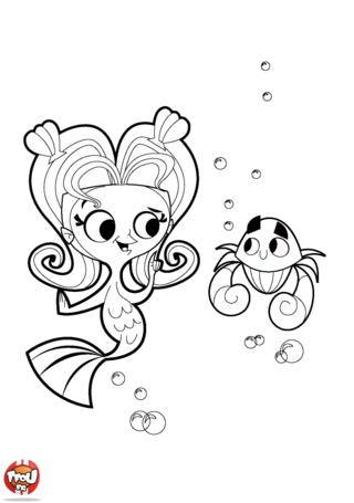 Coloriage: la sirène et le crabe