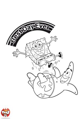 Coloriage: Bob l'éponge et Patrick Best Day ever 2