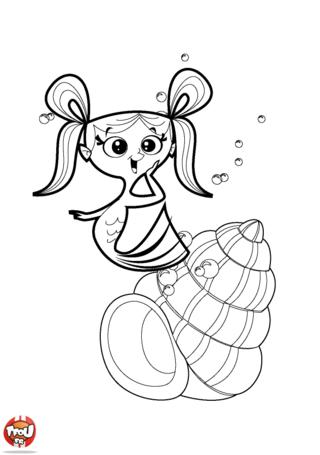 Coloriage: Sirène sort de son coquillage