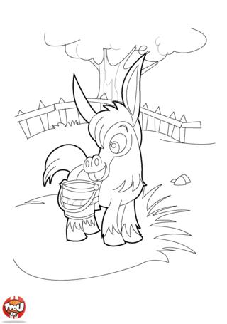Coloriage: L'âne dans le pré