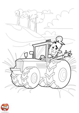 Coloriage: Agriculteur sur le tracteur