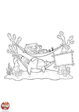 Coloriage: Bob l'éponge et Patrick dans les hamacs