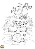 Les petits cochons et la vache