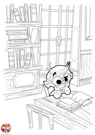 Coloriage: Petit garçon lit son livre