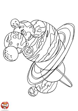 Coloriage: Planètes 1
