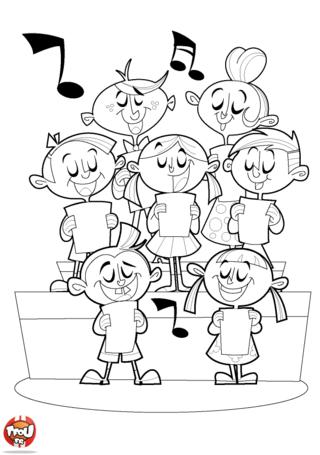Coloriage : le choeur des enfants