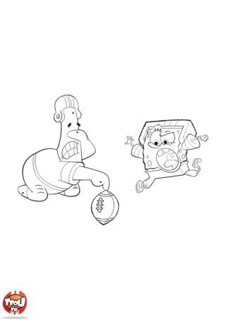 Coloriage: Bob l'éponge et Patrick foot américain