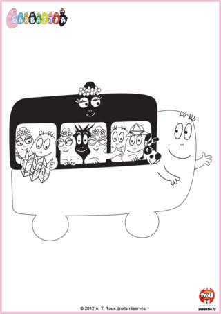 Coloriage : Barbapapa s'est transformé en bus pour amener toute sa famille en voyage. Imprime ce coloriage gratuitement sur TFou.fr. A tes crayons, TFounaute !