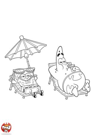 Coloriage: Bob l'éponge et Patrick au soleil