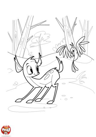 Coloriage: Le faon et l'oiseau