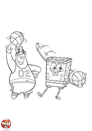 Coloriage: Bob l'éponge et Patrick au basket